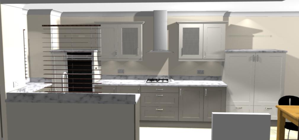 White kitchen cad for Kitchen designs lancashire